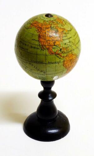 1880ca - Pocket Terrestrial Globe Miniature 5cm - Ludwig Julius Heymann