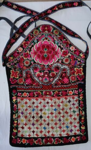 Old Antique Chinese Tribal Miao Ethnic Handmade Embroidery Baby Carrier
