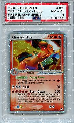 PSA 8 Near Mint - Mint EX Fire Red Leaf Green Charizard ex 105 Pokemon Card TCG