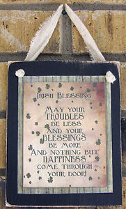 Irish House Blessing Hanging Wall Sign Plaque Primitive Rustic Lodge Cabin