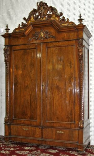Antique Angels-Putti Dragons Carved Walnut French Armoire Wardrobe C 1880