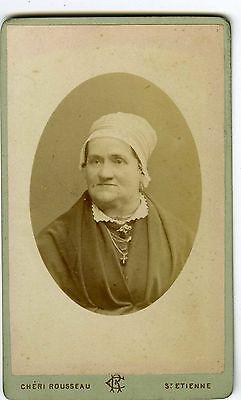 PHOTO CDV Rousseau ST Etienne portrait d'une femme agée avec coiffe vers 1880