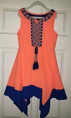 My Michelle Girls Neon Orange/Coral Royal Blue Handkerchief Dress, 7 (Dillards)  - Girls Handkerchief