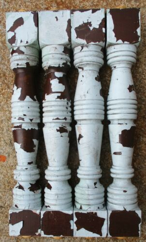 """Victorian Porch Pine Wood Balusters Spindles Columns Antique 17"""" set of 4"""