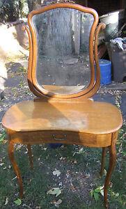Antique Tiger Oak :: Dressing Table Vanity Desk with Beveled Mirror circa 1900