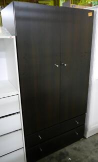 New Freestanding Melamine Wardrobe Hanging Facilities 2 Drawers