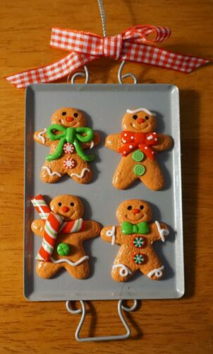 4 Gingerbread Man Men on Cooking Tray Christmas Cookie Ornament Christmas Decor