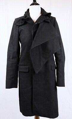 Helmut Lang Vintage Black Top Coat Draped EU 40 Cotton Moleskin Italy AvantGarde