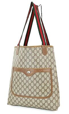 Authentic Vintage GUCCI Brown GG PVC Canvas and Leather Tote Bag Purse #37934A