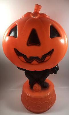 Vintage Halloween Jack-O-Lantern Blow Mold Black Cat Dancing Skeletons Empire Co