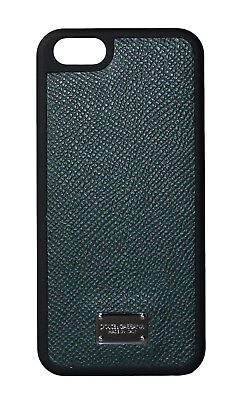 NEW $150 DOLCE & GABBANA Phone Case Green Silver Logo Leather 12,5x6cm iPhone5