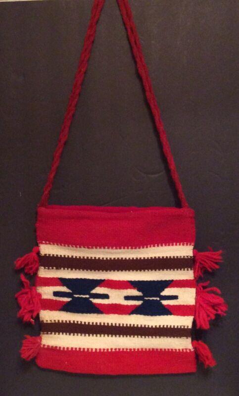 Vintage Woven Wool Purse Boho Shoulder Bag Tote Bag Native American Indian