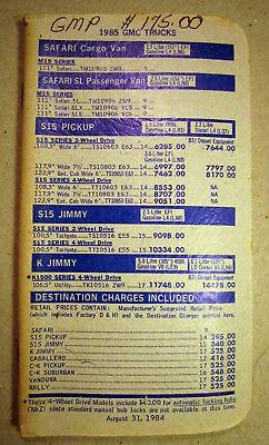 1985 GMC Truck Salesman Price Book Brochure S 15 Jimmy Cargo Van K Pickup Rare