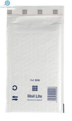 100 B00 B/00 White 120mmx210mm Padded Bubble Wrap Mail Lite Postal Bag Envelopes