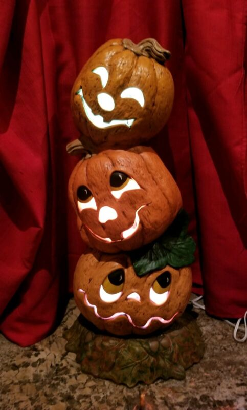 "Vintage Ceramic Halloween silly 3 Pumpkins Lighted decor 22"" tall"
