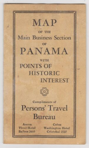 Vintage Panama Map Of The Main Business Section Persons