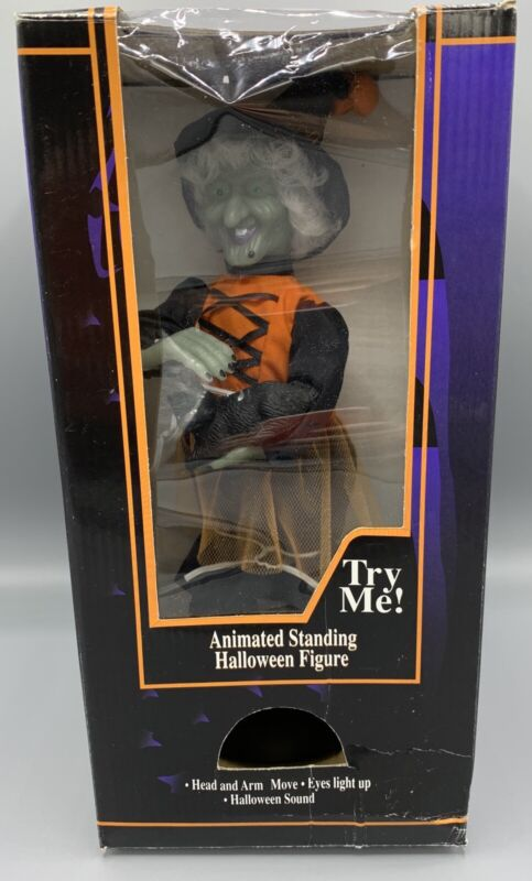 VTG GEMMY HALLOWEEN FACTORY ANIMATED WITCH PETTING HER CAT 1996 READ DESCRIPTION