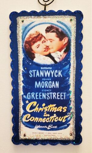 CHRISTMAS in CONNECTICUT  ~  MOVIE POSTER  * Glitter WOOD ORNAMENT * Vtg Img
