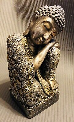 Old Collectibles Decorated Amber Carving Sleeping Buddha Auspicious Statue