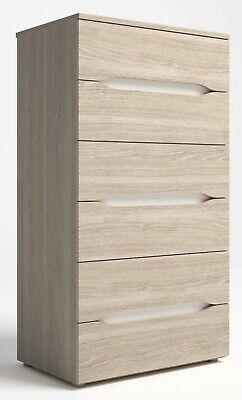 Comoda Tur dormitorio 6 cajones chifonier moderno color sable y blanco 62x40...