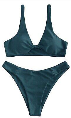 ZAFUL Damen Bogen Twist Tankini Bikini Set sexy High Cut Set Blau / Grün