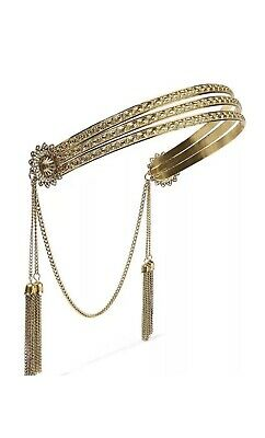 Jennifer Behr Tasseled Gold Plated Headband Boho Bride Festival New