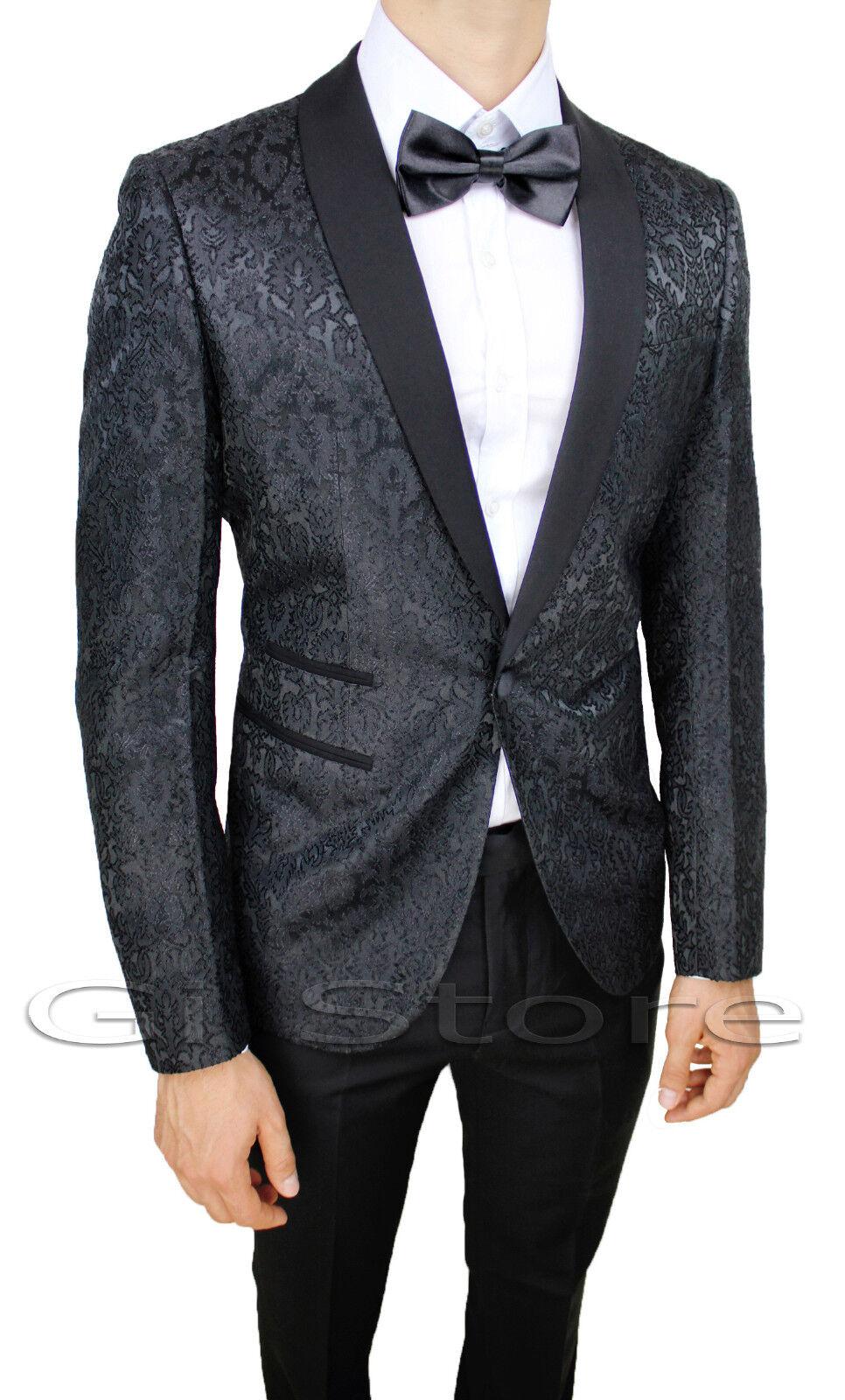 Abito Matrimonio Uomo Tight : Abito uomo diamond raso nero damasco floreale completo vestito