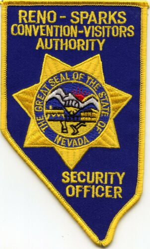 RENO SPARKS NEVADA State Shape Shaped CONVENTION VISITORS SECURITY police PATCH