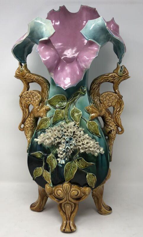 Antique Barbotine Majolica Art Nouveau Floral Vase - With Dragon Handles - Rare