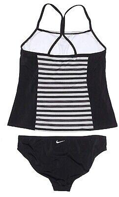 NWT NIKE Women's Tankini Athletic Two-Piece Swimsuit Black/White (Athletic Two Piece Swimsuits)