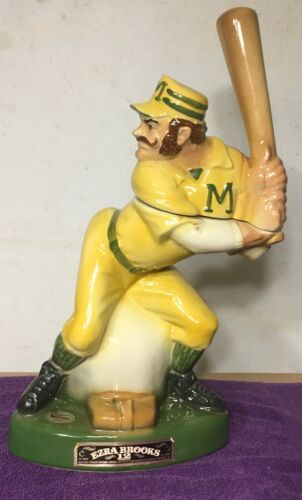 1973 Heritage China Ezra Brooks Mighty Casey Baseball Player Decanter Vintage