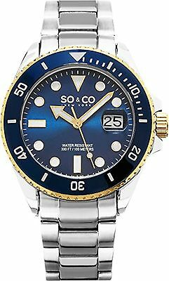 NEW SO & CO New York 5025.2 Mens Yacht Club Blue/Gold Bezel Silver SS Watch 100m