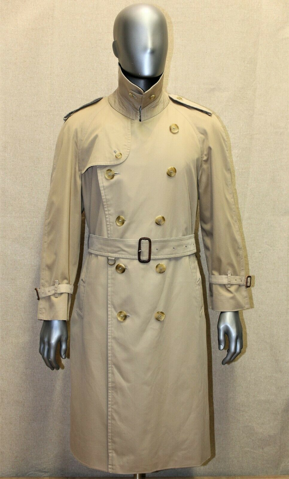 Trench burberry homme imper 50 short beige doublure laine made in england