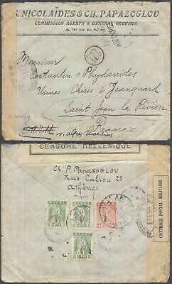 Greece WWI - Cover to France - Censor D79