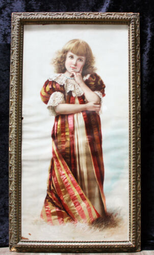 LARGE Victorian Girl Fashion Meditation Art Print Exquisite Shabby Chic Frame