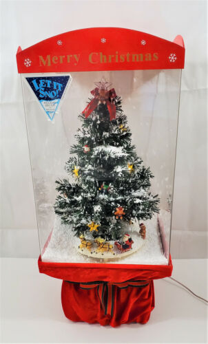 Musical Lighted Christmas Tree Snow Fall Scene Let It Snow Holiday Music