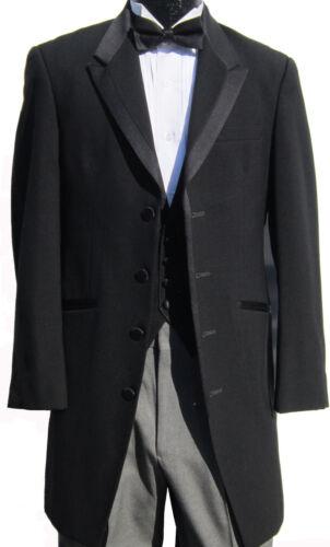 High Quality Very Long Black Tuxedo Jacket Frock Coat Western Duster Steampunk