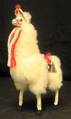 "VTG Llama 6"" White Real Soft Fluffy Alpaca fur Andes Peru Mini Blanket"