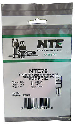 Nte78 Npn Rf Power Transistor 3-4 Watt Output Ideal For Qrp Great Price