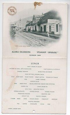 1905 Lunch Menu Steamship Spokane Pacific Coast Steamship Co Sitka Alaska View, used for sale  San Francisco