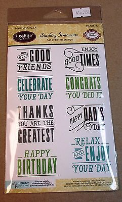 """JUSTRITE """"STACKING SENTIMENTS"""" CLEAR STAMP SET CR-02166 - NEW"""