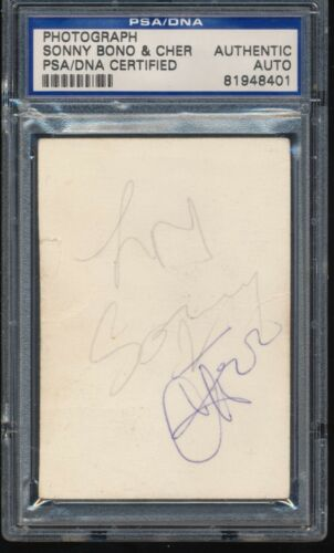 Sonny Bono And Cher Signed Paper PSA DNA Autograph Rare!!  I Got You Babe!!
