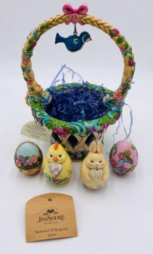 Jim Shore Heartwood Creek BASKETFUL OF SURPRISES 4031691 Easter Basket & 4 Eggs