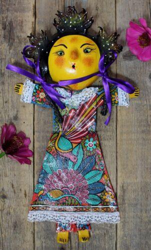 Girl with Fancy Hair Coconut Mask Handmade Hand Painted Guerrero Mexico Folk Art