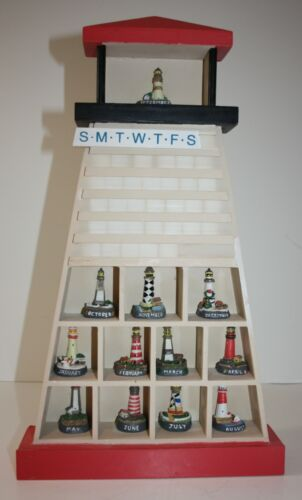 Lighthouse Figurine Calendar Wood Display + 12 Lighthouses