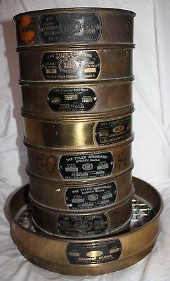 Tyler U.s.a. Standard Lot Of 8 Brass Screen Scales Test Sieves Multiple Sizes