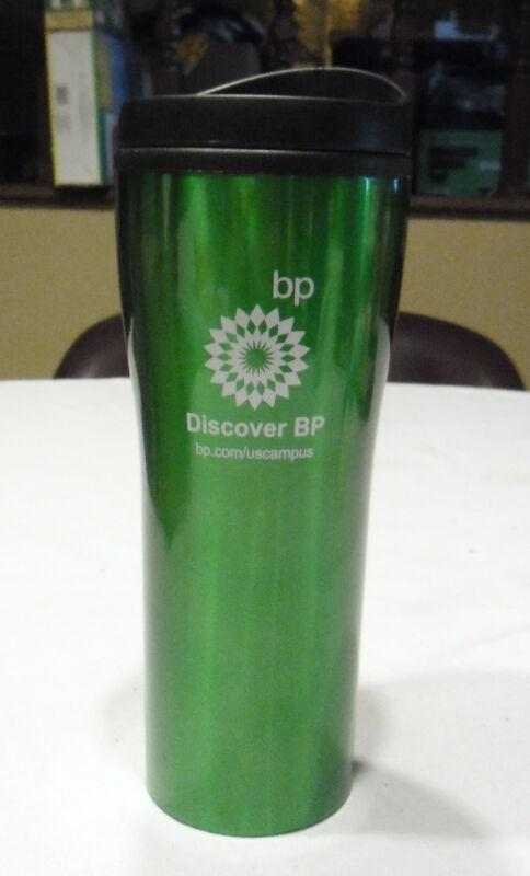 "British Petroleum BP Tall Green Insulated Coffee Travel Cup Mug ""Discover BP"""