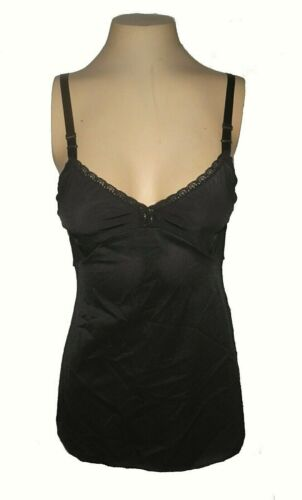 vintage 1970s Cami Shadowline, Stretch mint Black  34