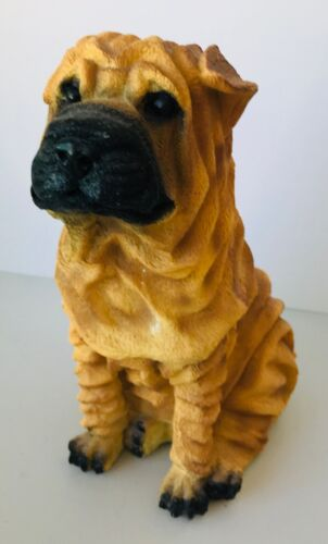 """Shar Pei Dog Figurine Resin Very Wrinkly 7.75"""" tall Castagne? No label"""