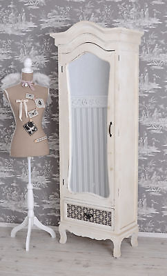 Cupboard cottage coutry style cabinet white wardrobe wood armoire with mirror